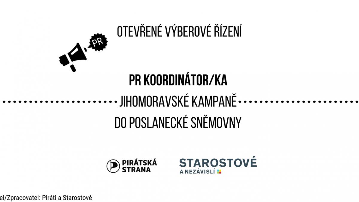 Otevřené výběrové řízení - PR koordinátor/ka jihomoravské kampaně do sněmovny