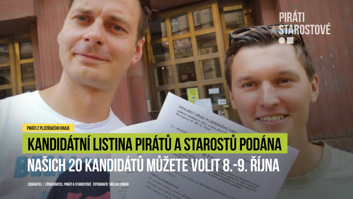 Kandidátní listina Pirátů a Starostů do Sněmovny podána!