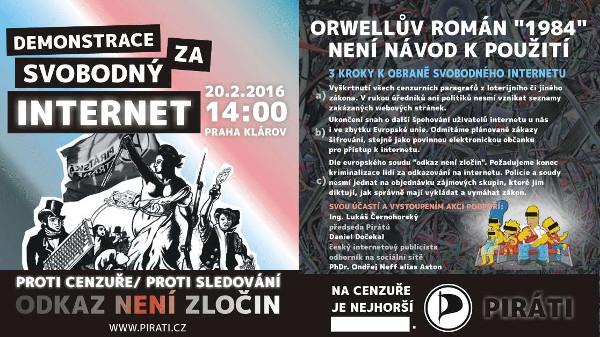 Praha v sobotu protestuje proti cenzuře a špehování