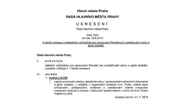 Pražská rada schválila východiska lepšího zveřejňování smluv