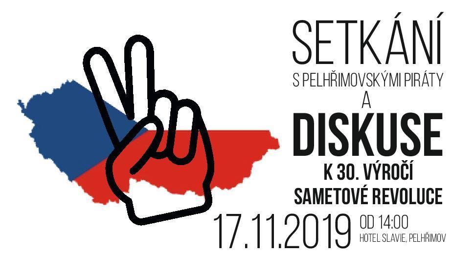 Pozvánka na setkání s Piráty a diskuzi k 30. výročí Sametové revoluce v Pelhřimově