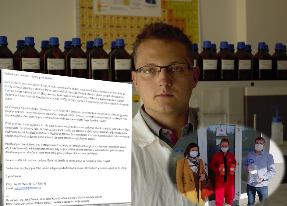 Musíme si pomáhat – Břížďala vyzývá školy na Vysočině, aby se přidaly k výrobě dezinfekce pro potřebné