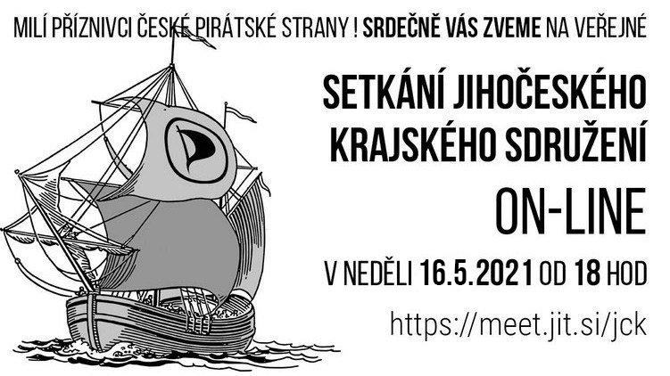 Zveme na online setkání jihočeských Pirátů v neděli 16. 5. 2021