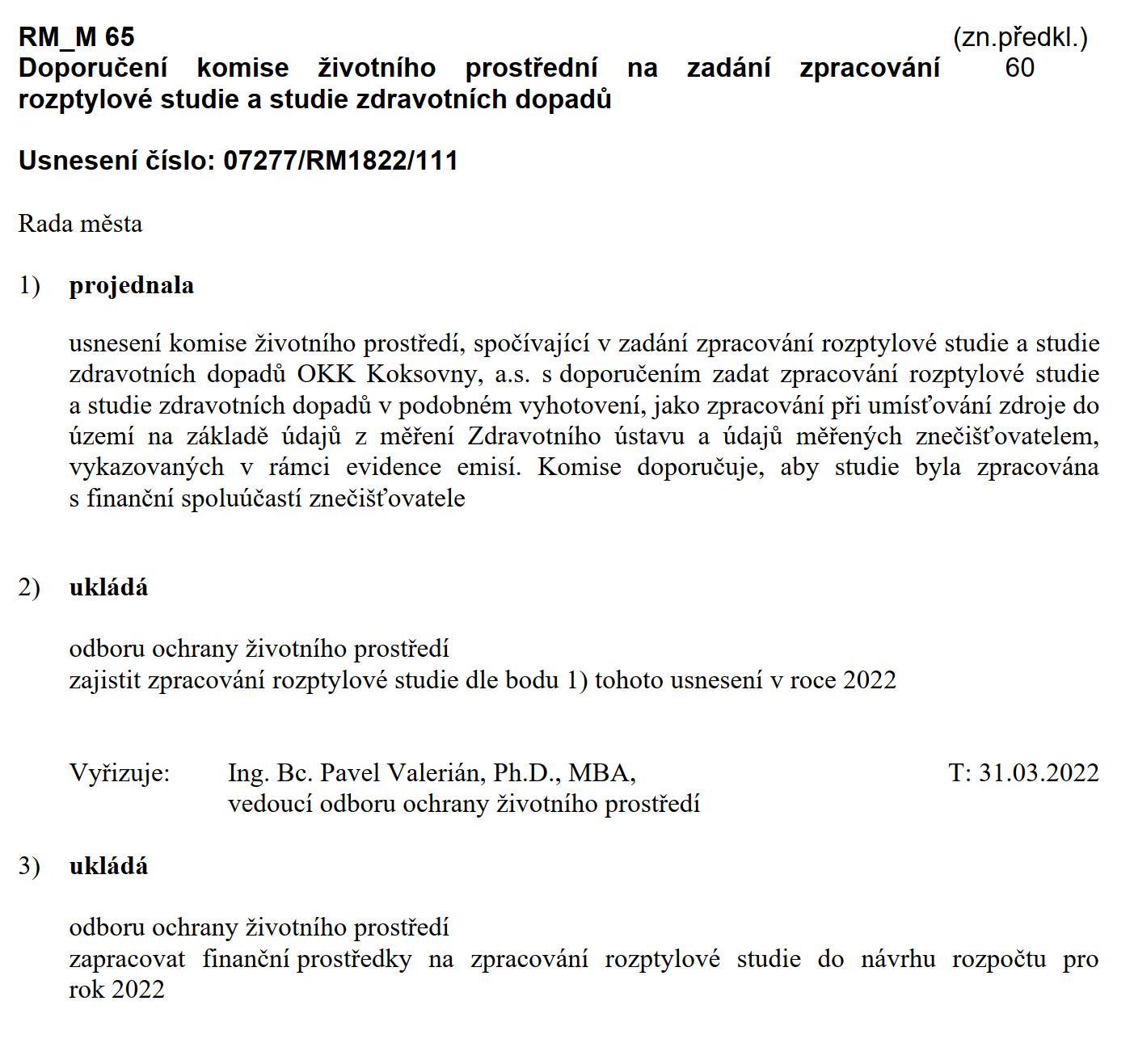 Usnesení rady k rozptylové studii ke koksovně.