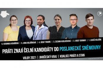 Jihočeští Piráti znají dalších pět kandidátů pro volby do Poslanecké sněmovny Parlamentu ČR