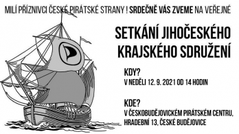 Zveme do Českých Budějovic na setkání jihočeských Pirátů v neděli 12. 9. 2021